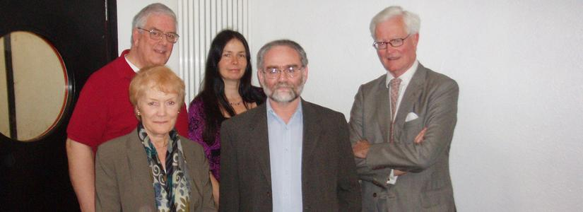 Photograph after the Radio 4 programme Reunion. Lord Hurd, Harvey Thomas,Jo Berry and Patrick Magee,